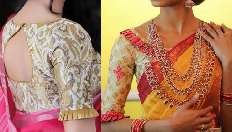Silk blouse with pleats and frills